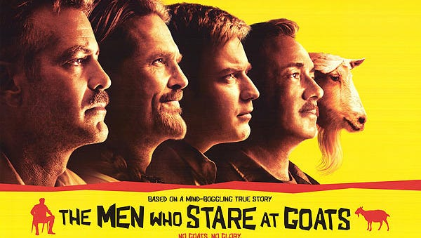 """""""The Me Who Stare at Goats"""" (2009), starring George Clooney, Ewan McGregor, Jeff Bridges and Kevin Spacey. Filming locations in New Mexico include Estancia, White Sands, Albuquerque, Zia Pueblo and New Mexico Military Institute."""