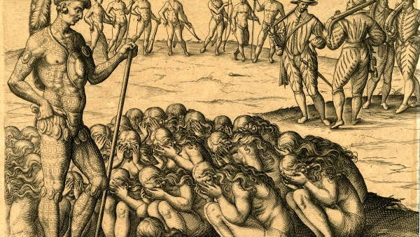 """This engraving by Theodore de Bry showing Florida Indians is called """"The Chief Applied to by Women Whose Husbands Have Died in the War or by Disease."""" The same women appear in an engraving of Brazilian Indians."""