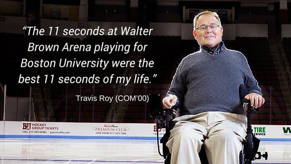 Travis Roy on the ice at Boston University
