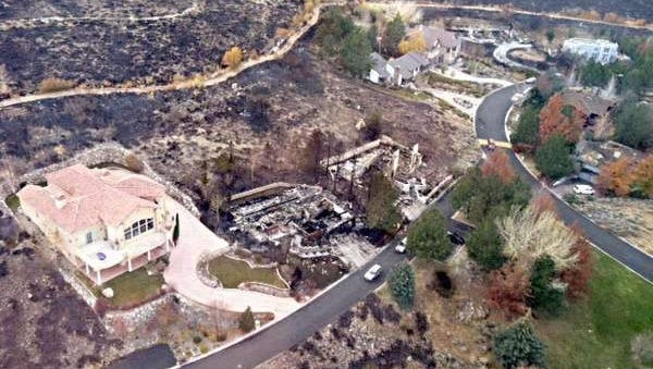 An aerial shot of burned home taken Saturday by Nevada Gov. Brian Sandoval, who flew over the devastation.