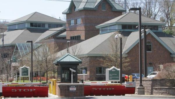 A view of the exterior of the New York State Police barracks in Hawthorne, photographed April 21, 2014.