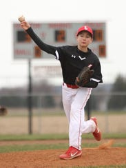 SJCC's Cole Stull pitches against Woodmore on Saturday