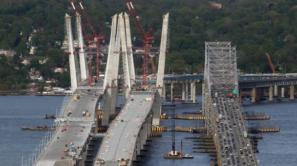 Traffic moves on the Tappan Zee Bridge as construction