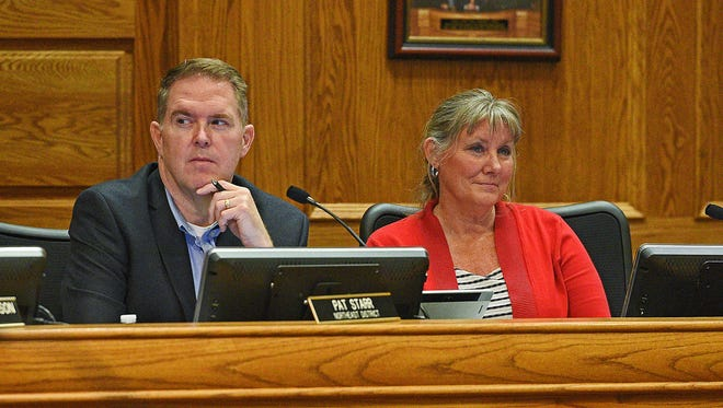 Sioux Falls City Council Members Pat Starr, left, and Theresa Stehly look on during a Sioux Falls City Council meeting Tuesday, May 2, 2017, at Carnegie Town Hall in Sioux Falls. The City Council passed an outdoor public smoking during Tuesday's meeting.