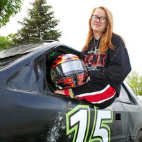 Kjerstin Klockman, 14, is the youngest racer on the track at I-90 Speedway in Hartford this season. The Brandon Valley eighth-grader competes in the super chargers division.
