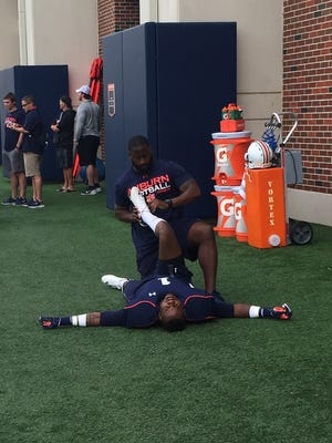 D'haquille Williams has been stretched before practice in back-to-back weeks.