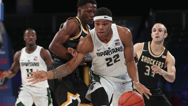 Michigan State guard Miles Bridges will miss the next couple of weeks with an ankle injury, according to coach Tom Izzo.
