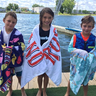 A trio of 8-year-old wakeboarders,Teague Gallogly,