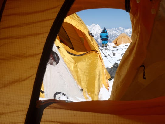 "Jen Loeb took a photo of her view from her tent at Camp 4, at 26,000 feet, which is the start of the so-called ""death zone"" on Mount Everest."