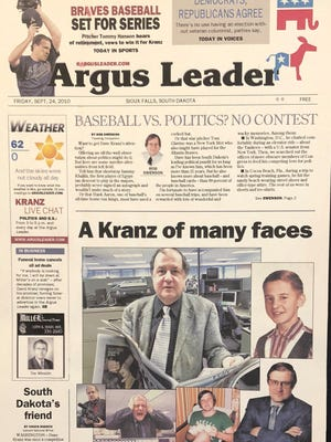 The going-away front page made for David Kranz upon his retirement from the Argus Leader.