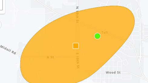 Map shows extent of outage in Taft area