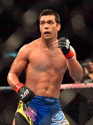 Lyoto Machida in a file photo during UFC 163. Machida made his middleweight debut Saturday at UFC Fight Night and knocked out Mark Munoz with a head kick.