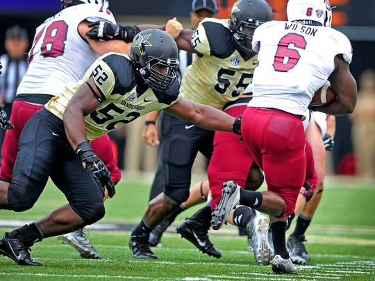 Redshirt freshman linebacker Nigel Bowden (52) leads Vanderbilt with 54 tackles and two quarterback hurries.