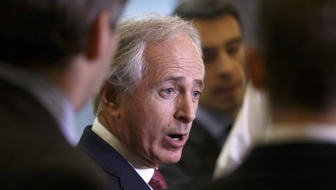 Senate Foreign Relations Committee Chairman Sen. Bob Corker, R-Tenn., answers reporters questions on Capitol Hill in Washington on Feb. 10, 2015. Corker's committee is considering legislation that would require congressional approval of any deal to control Iran's nuclear program.