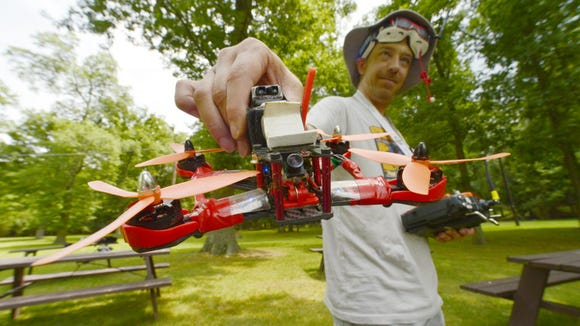 Jerry Monit of Cedar Grove with a racing drone