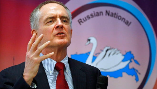 """In a March 22, 2015 file photo, U.S. writer Jared Taylor, author of the book """"White Identity"""" speaks during the International Russian Conservative Forum in St. Petersburg, Russia. Taylor is suing Twitter for banning his account amid the company's recent crackdown on content it deems abusive."""