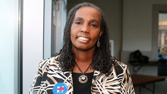 Cheryl Brannan of Yonkers is supporting Hillary Clinton for President. Friday, April 08, 2016.