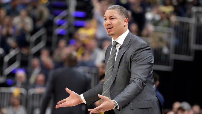 Cleveland Cavaliers head coach Tyronn Lue reacts on the sideline during the first half of Game 4 of a first-round NBA basketball playoff series against the Indiana Pacers, Sunday, April 22, 2018