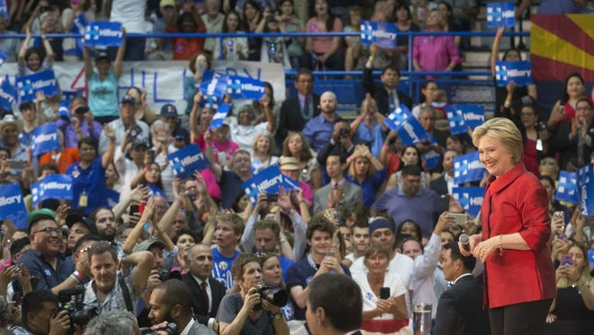 Presidential candidate Hillary Clinton speaks at a rally at Carl Hayden Community High School in Phoenix on Monday.