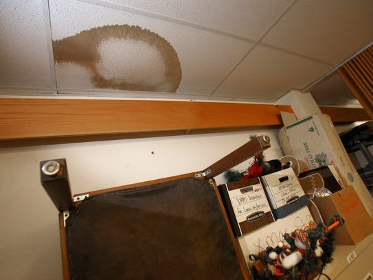 Stains in ceiling tiles at the Toms River Town Hall