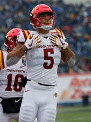 Iowa State Cyclones wide receiver Allen Lazard (5) celebrates his touchdown during the second half of the AutoZone Liberty Bowl Saturday, Dec. 30, 2017, in Memphis, Tennessee. ISU defeated Memphis 21-20.