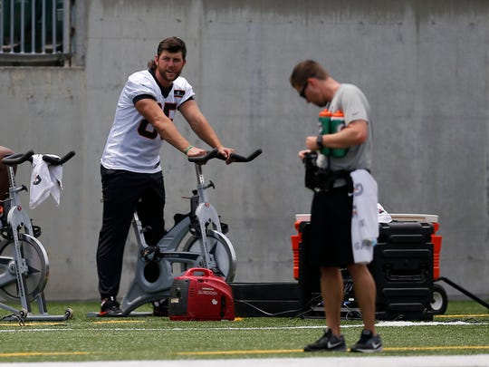 Cincinnati Bengals tight end Tyler Eifert (85) sits out during a practice session of Bengals Mini Camp at Paul Brown Stadium in downtown Cincinnati on Wednesday, June 13, 2018.