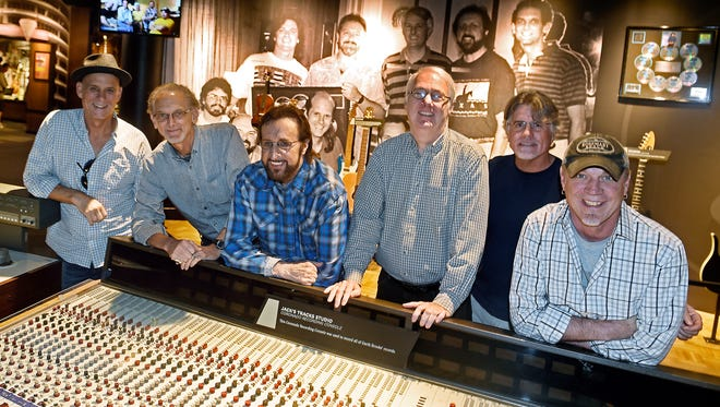 The G Men, Garth Brooks' studio band, is soon getting inducted into the musician's hall of fame.  They are: Bruce Bouton (steel guitar), Chris Leuzinger (electric guitar), Bobby Wood (keyboards), Mark Casstevens (acoustic guitar), Mark Miller (engineer) and Rob Hajocos (fiddle)  Tuesday Oct. 11, 2016, in Nashville, Tenn.