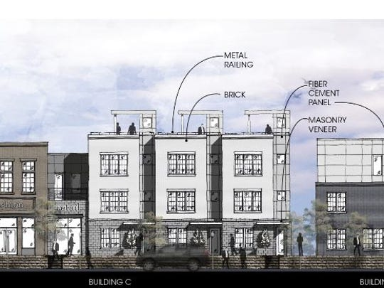 An elevation showing the townhome development planned