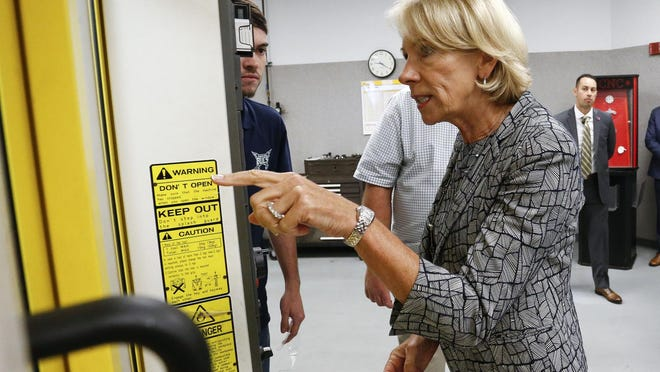 U.S. Secretary of Education Betsy DeVos visits Shelton State and observes an automated machine tool in operation as part of her Rethink School tour Thursday, Oct. 4, 2018. DeVos will not appeal a judge's decision to block her rule on the allocation of CARES Act money.