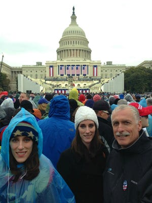 Alan Jackson, right, of Palo Cedro, poses with his daughters while they attend Donald Trump's inauguration on Friday in Washington, D.C.