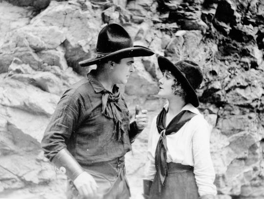 Louise Lovely and William Farnum in Palm Springs filming