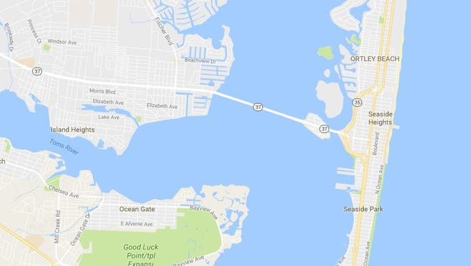 The Thomas A. Mathis Bridge  to Seaside Heights from Toms River was stuck open on Saturday.