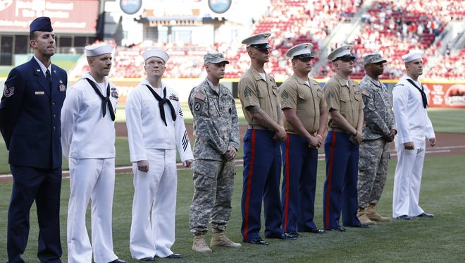 The Cincinnati Reds recognized members of the Armed Forces during Military Appreciation Day at Great American Ball Park.