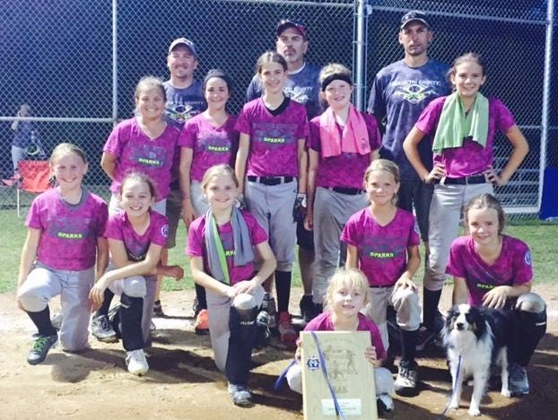 The Tri-County Sparks won five games Sunday to capture the North Arkansas Babe Ruth 10-and-under softball state championship. The Sparks defeated Siloam Springs 15-0, but fell 5-4 to Gravette in the winner's bracket semifinal on Saturday. The Tri-County girls fought through the loser's bracket Sunday, defeating the Harrison Diamond Divas 7-3, the Gentry Lady Rebels 19-1, and the Gentry Pride 14-3 to secure a rematch in the finals. Tri-County defeated Gravette twice, 13-3, 11-1, to capture the state title. Team members are: first row, from left, Lauren Skaggs, Andrea McCandlis, Chelsea Hamilton, Merical Watts, Emily Taylor; second row, Nicole McGill, Morgan Johnson, Jenna Lawrence, Sara Crowe, Bailee Duhme; back row, coaches Corey Johnson, Andy McCandlis and Garry Duhme. Also pictured are bat girl Emilee Duhme, front, and team mascot, Willie.