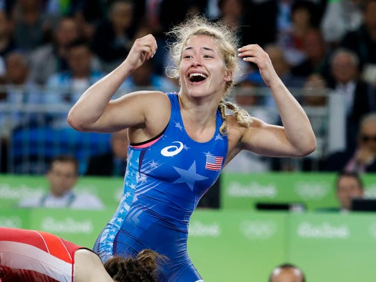 Helen Maroulis, the first American to win a gold medal in women's wrestling, is Brianna Reep's wrestling idol.