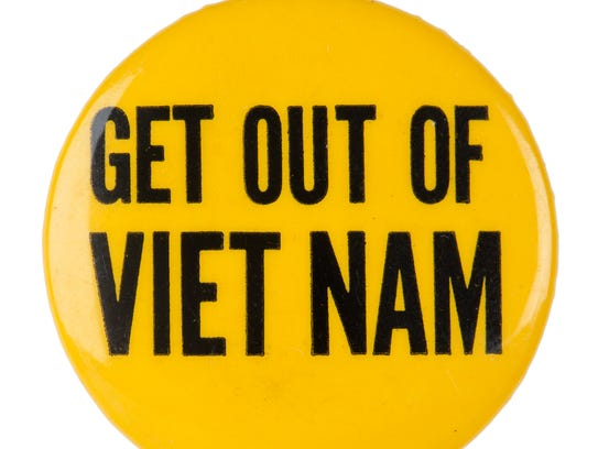 """Get Out of Viet Nam"""" button."""