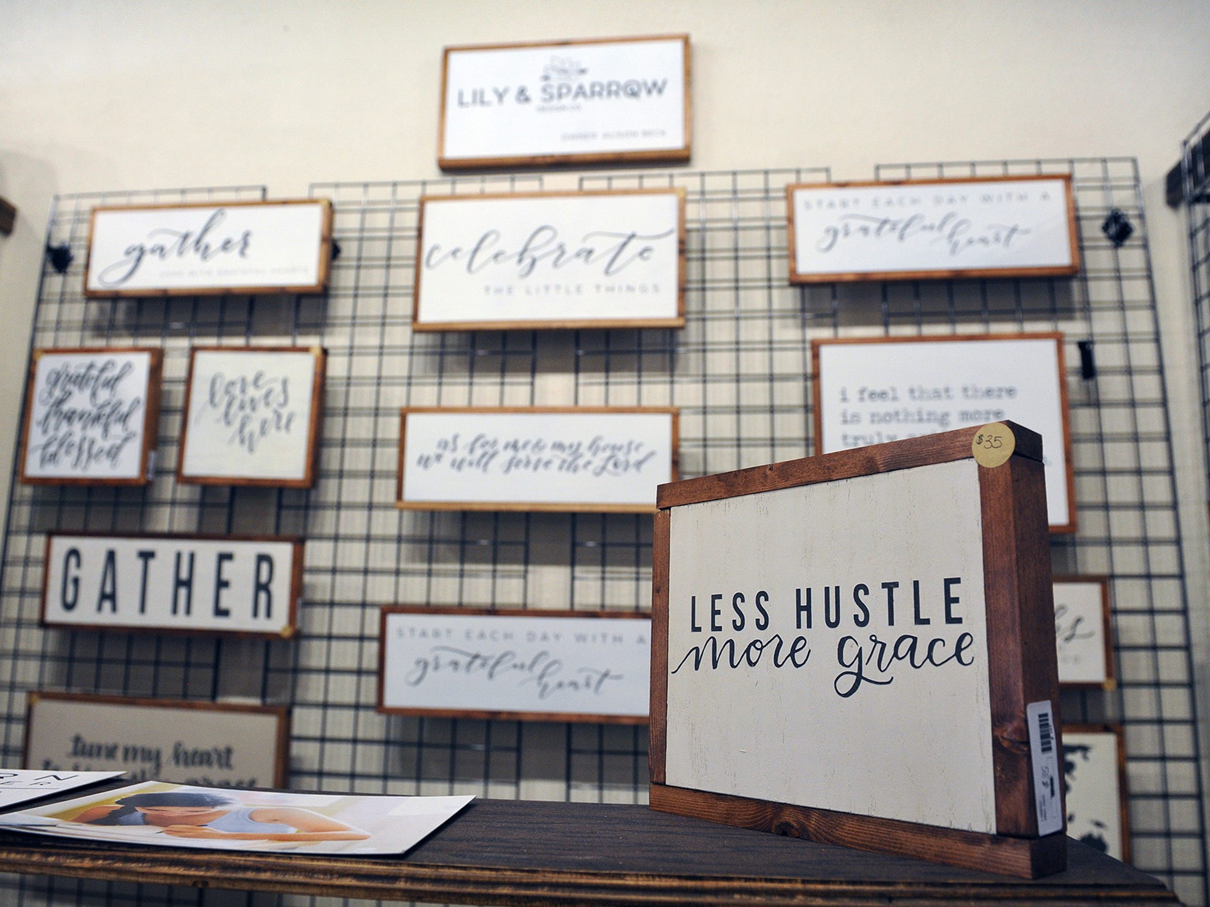 Hand-lettered, inspirational and faith-based framed pieces created by Alison Beck are available through her business, Lily & Sparrow, which is located in The Loft, a marketplace of local vendors with creative, high-end products. The Loft opened about three weeks ago and is owned by Sarah Williams and Tammy Robertson.
