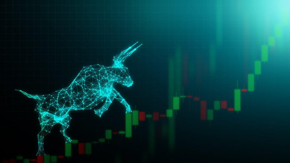 Bull market depiction showing an electronic bull climbing a stock chart.