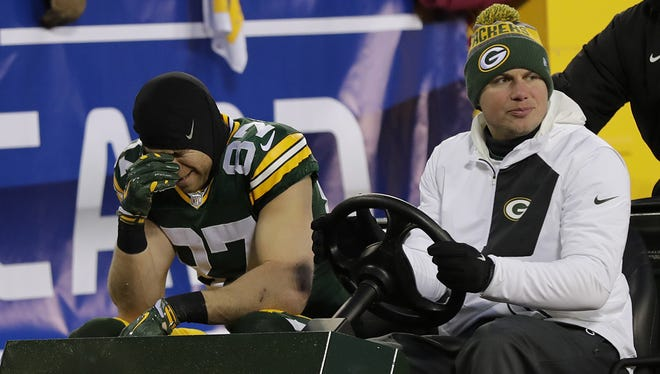 Dan Powers / USA TODAY NETWORK-Wisconsin  Packers wide receiver Jordy Nelson is carted off the field Sunday after getting injured in the second quarter against the New York Giants at Lambeau Field. Green Bay Packers wide receiver Jordy Nelson (87) is carted off the field after getting injured against the New York Giants during their NFC wild-card playoff game Sunday, January 8, 2017, at Lambeau Field in Green Bay, Wis.  Dan Powers/USA TODAY NETWORK-Wisconsin