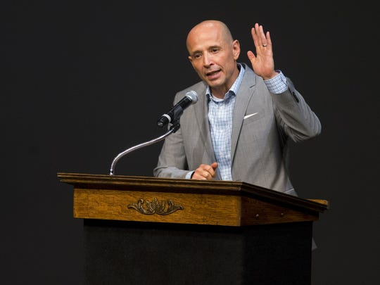 David Garcia, an education-leadership professor and Democratic candidate for Arizona governor, described himself as the voice of resistance to the Republican agenda at a forum during the Maricopa County Democratic Party summer convention at Central High School on Aug. 19, 2017.