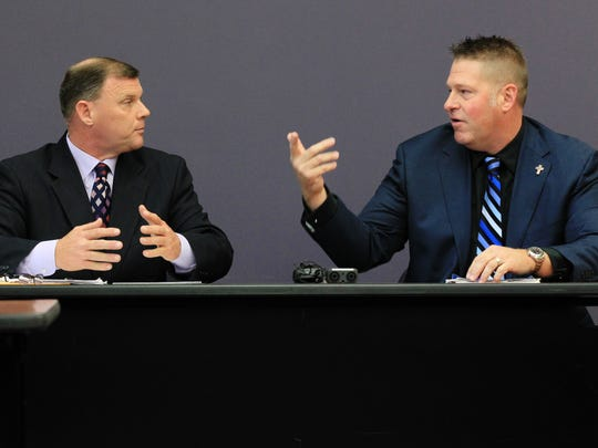Kip Judice, left, lost the 2014 race for Lafayette City Marshal to Brian Pope, right, who was found guilty Oct. 3, 2018, of four felonies, including perjury and malfeasance in office.