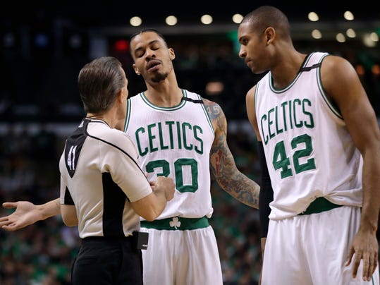 Boston Celtics forward Gerald Green (30) and center Al Horford (42) appeal to referee Ken Mauer during the first half of Game 5 of the NBA basketball Eastern Conference finals against the Cleveland Cavaliers, on Thursday, May 25, 2017, in Boston. (AP Photo/Elise Amendola)