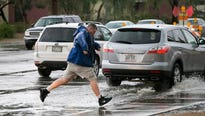 Monsoon storms throughout metro Phoenix on Saturday night left damage in the East Valley.