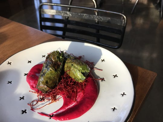 """The menu at Gasolina Tapas in Oxnard includes morcilla sausage wrapped in beet leaves and served atop beet puree with flash-fried bits of spiralized beet. """"Part of it is wanting to be creative with the ingredients. The other is not wanting to waste anything,"""" chef and restaurateur Sandra Cordero says of her """"beets three ways approach"""" to the dish."""