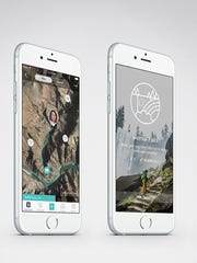 This image provided by Fitbit shows examples, displayed on smartphones, of a new motivational feature called Adventures, which will be available to all Fitbit users through a free app update Monday, Aug. 29, 2016. Fitbit wants to get its users to exercise more by teasing symbolic rewards based on how far they would have run or walked on real-world hikes. (Fitbit via AP)