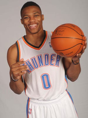 Oklahoma City Thunder guard Russell Westbrook poses for a portrait during media day at Thunder Events Center.