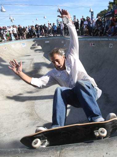 "Steve Olson skates at the El Gato Classic at the Palm Springs Skate Park on December 5, 2015. Olson was part of a dozen legends of the sport who participated in the ""Legends Weekend"" including Tony Hawk, Steve Alba, Christian Hosoi among others."