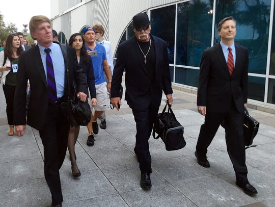 Hulk Hogan, center, whose given name is Terry Bollea,