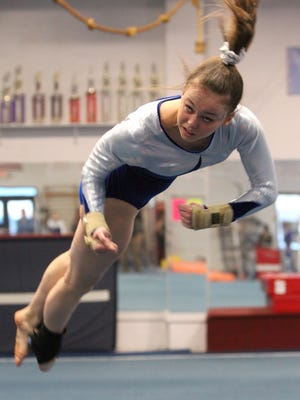 Mahopac's Callie Johanson performs  her floor exercise at the Division I and II Gymnastics championships at Odyssey Gymnastics Center in Mahopac Feb. 6, 2017.