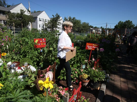 Judge Amy Lehman walks through Marie Natal's garden, as the Nyack Community Garden held their annual contest July 23, 2015.  Five judges judged over 50 plots in five categories including Best Vegetable, Best Flowers, Best Maintained, Most Creative and Best Overall. This is 35th year that the contest was held. Natal's garden won first place in the Most Creative category.